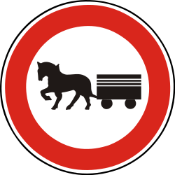 Traffic sign of Slovakia: Horsecarts prohibited