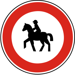 Traffic sign of Slovakia: Equestrians prohibited