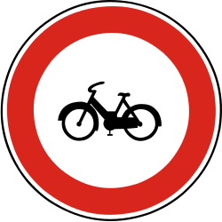 Traffic sign of Slovakia: Mopeds prohibited