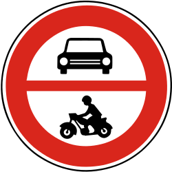 Traffic sign of Slovakia: Motorcycles and cars prohibited