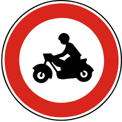 Traffic sign of Slovakia: Motorcycles prohibited