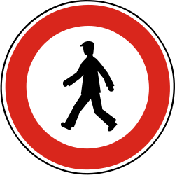 Traffic sign of Slovakia: Pedestrians prohibited