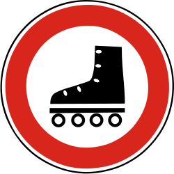 Traffic sign of Slovakia: Skaters prohibited