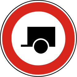 Traffic sign of Slovakia: Trailers prohibited
