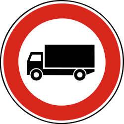 Traffic sign of Slovakia: Trucks prohibited