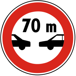 Traffic sign of Slovakia: Leaving less distance than indicated prohibited