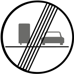 Traffic sign of Slovakia: End of the overtaking prohibition for trucks