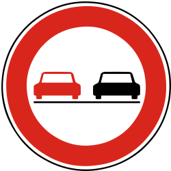 Traffic sign of Slovakia: Overtaking prohibited