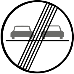 Traffic sign of Slovakia: End of the overtaking prohibition