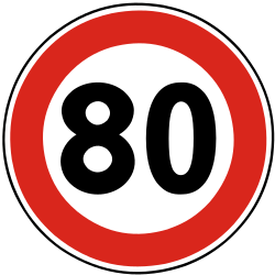 Traffic sign of Slovakia: Driving faster than indicated prohibited (speed limit)