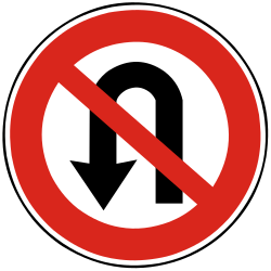 Traffic sign of Slovakia: Turning around prohibited (U-turn)