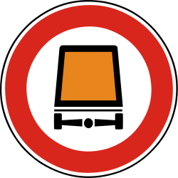 Traffic sign of Slovakia: Vehicles with dangerous goods prohibited