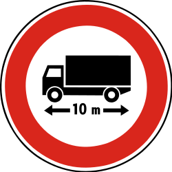 Traffic sign of Slovakia: Vehicles longer than indicated prohibited