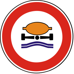 Traffic sign of Slovakia: Vehicles with polluted fluids prohibited