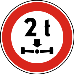 Traffic sign of Slovakia: Vehicles with an axle weight heavier than indicated prohibited