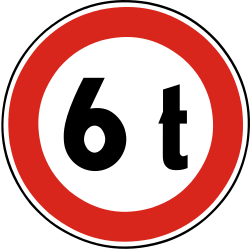 Traffic sign of Slovakia: Vehicles heavier than indicated prohibited
