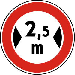 Traffic sign of Slovakia: Vehicles wider than indicated prohibited