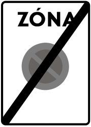 Traffic sign of Slovakia: End of the zone where parking is prohibited