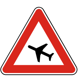Traffic sign of Slovakia: Warning for low-flying aircrafts