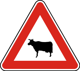Traffic sign of Slovakia: Warning for cattle on the road