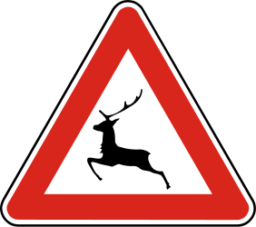 Traffic sign of Slovakia: Warning for crossing deer