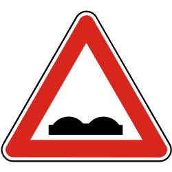 Traffic sign of Slovakia: Warning for a bad road surface
