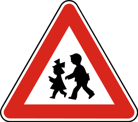 Traffic sign of Slovakia: Warning for children