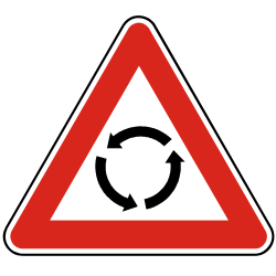 Traffic sign of Slovakia: Warning for a roundabout