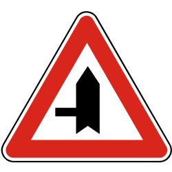 Traffic sign of Slovakia: Warning for a crossroad with a side road on the left