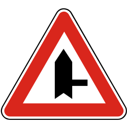 Traffic sign of Slovakia: Warning for side road on the right