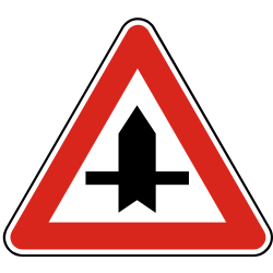 Traffic sign of Slovakia: Warning for a crossroad side roads on the left and right
