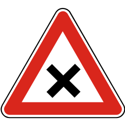 Traffic sign of Slovakia: Warning for an uncontrolled crossroad
