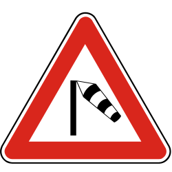 Traffic sign of Slovakia: Warning for heavy crosswind
