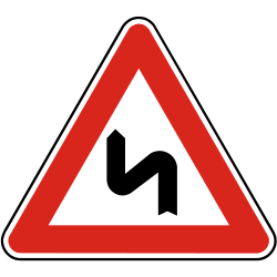 Traffic sign of Slovakia: Warning for a double curve, first left then right
