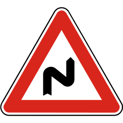 Traffic sign of Slovakia: Warning for a double curve, first right then left