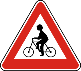 Traffic sign of Slovakia: Warning for cyclists