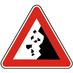 Traffic sign of Slovakia: Warning for falling rocks