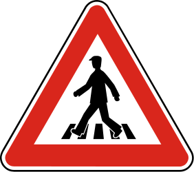 Traffic sign of Slovakia: Warning for a crossing for pedestrians