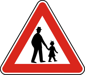Traffic sign of Slovakia: Warning for pedestrians