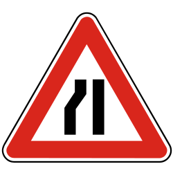 Traffic sign of Slovakia: Warning for a road narrowing on the left