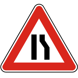 Traffic sign of Slovakia: Warning for a road narrowing on the right