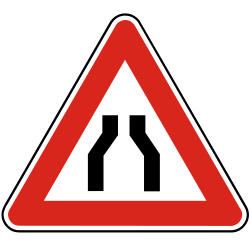 Traffic sign of Slovakia: Warning for a road narrowing