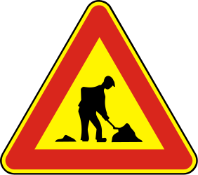 Traffic sign of Slovakia: Warning for roadworks