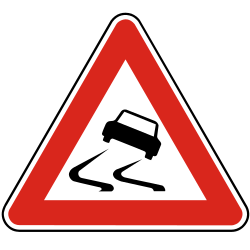 Traffic sign of Slovakia: Warning for a slippery road surface