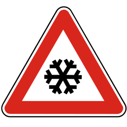 Traffic sign of Slovakia: Warning for snow and sleet