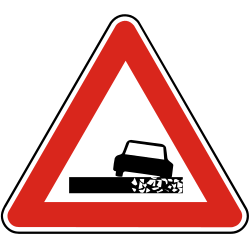 Traffic sign of Slovakia: Warning for a soft verge