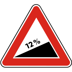 Traffic sign of Slovakia: Warning for a steep ascent