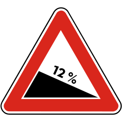 Traffic sign of Slovakia: Warning for a steep descent