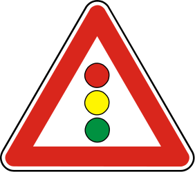 Traffic sign of Slovakia: Warning for a traffic light