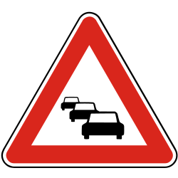 Traffic sign of Slovakia: Warning for traffic jams